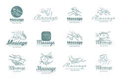 Logo di vettore dell'illustrazione di processo di massaggio su fondo bianco fotografie stock
