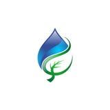 Logo di vettore della foglia della goccia di acqua Immagine Stock Libera da Diritti