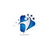 Logo di vettore della gente di media di successo Fotografie Stock