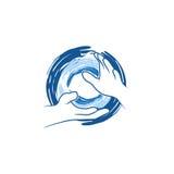 Logo di vettore della mano di 'chi' del Tai Immagine Stock