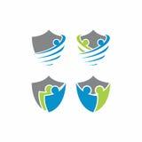 Logo di vettore dello scudo umano Immagini Stock