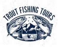 Logo di vettore di pesca Icona di Salmon Fish Immagini Stock Libere da Diritti