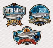 Logo di vettore di pesca Icona di Salmon Fish Fotografie Stock