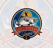 Logo di vettore di pesca Icona di Salmon Fish Immagini Stock
