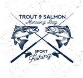 Logo di vettore di pesca Icona di Salmon Fish Fotografia Stock