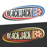 Logo di vettore per il gioco del black jack Immagini Stock