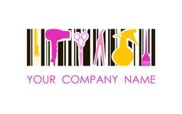 Logo di vettore per il salone di lavoro di parrucchiere Logo di progettazione di massima Fotografia Stock