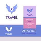 Logo di vettore per il viaggio turistico Il colore traversa il cielo volando Biglietto da visita Fotografia Stock Libera da Diritti