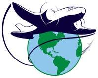 Logo di viaggio intorno al mondo Fotografia Stock