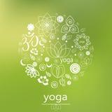 Logo di yoga di vettore nel verde Immagine Stock Libera da Diritti
