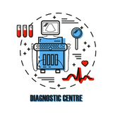 Ultrasound machine isolated. Logo for diagnostic medical centre with ultrasound machine, ecg, magnifier, blood samples made in modern line style. Medical Stock Images