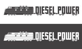 Logo diesel de puissance Illustration locomotive à moteur diesel de vecor Photo stock