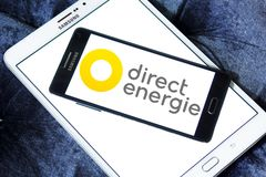 Direct Energie company logo. Logo of Direct Energie company on samsung mobile. Direct Energie is a French international electric utility company, which operates stock images