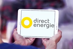 Direct Energie company logo. Logo of Direct Energie company on samsung tablet. Direct Energie is a French international electric utility company, which operates royalty free stock image