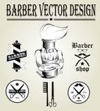 Logo disegnato a mano d'annata del negozio di barbiere Fotografie Stock