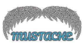 Logo disegnato a mano dei baffi di vettore Immagine Stock