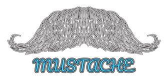 Logo disegnato a mano dei baffi di vettore Fotografia Stock Libera da Diritti