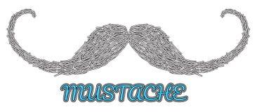 Logo disegnato a mano dei baffi di vettore Immagini Stock