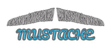 Logo disegnato a mano dei baffi di vettore Fotografie Stock Libere da Diritti