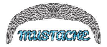 Logo disegnato a mano dei baffi di vettore Fotografia Stock