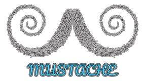 Logo disegnato a mano dei baffi di vettore Fotografie Stock
