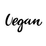 Logo disegnato a mano del vegano, etichetta Vector l'illustrazione l'ENV 10 per alimento e la bevanda, i ristoranti, menu, i bio- Fotografia Stock Libera da Diritti