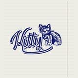 Logo disegnato a mano di vettore con un gattino Immagini Stock Libere da Diritti