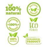 Logo, distintivo, etichetta, elementi del logotype con le foglie Immagini Stock