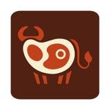 Logo divertente della bistecca Fotografie Stock Libere da Diritti