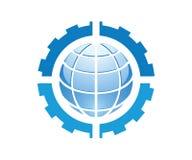 Logo dla maszynerii machinalnej firmy która zawiera cztery przekładni wszystko w błękitnym kolorze i kula ziemska ilustracja wektor
