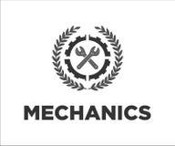 Logo dla mechaników w popielatym kolorze ilustracji