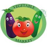 Logo dla warzywo rynku Pomidor, ogórek i oberżyna na zielonym tle, obraz royalty free