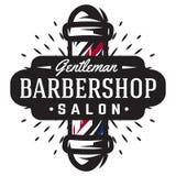 Logo dla zakładu fryzjerskiego z fryzjera męskiego słupem w rocznika stylu ilustracji