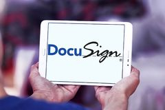 DocuSign company logo. Logo of DocuSign company on samsung tablet . DocuSign provides electronic signature technology and digital transaction management services Stock Image