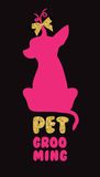 Logo for dog hair salon with vector dog silhouette. Pet grooming salon. Stock Photos
