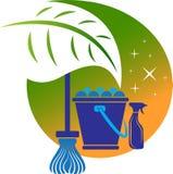 Logo domestico di pulizia Fotografie Stock Libere da Diritti