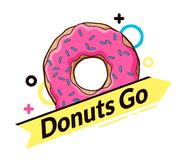 Logo with donut. dynamic logo. Yellow arrow with an inscription Royalty Free Stock Photos