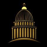 Logo dorato della costruzione del Campidoglio Immagini Stock Libere da Diritti