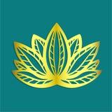 Logo dorato stilizzato del fiore di loto su progettazione disegnata a mano di fantasia del fondo blu per il tatuaggio, panno del  illustrazione vettoriale