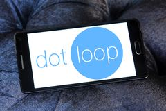 Dotloop logo. Logo of dotloop on samsung mobile. dotloop is a transaction system that allows the paperwork associated with a multiparty real estate transaction Stock Image