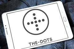 The dots social network logo. Logo of the dots social network on samsung tablet royalty free stock image