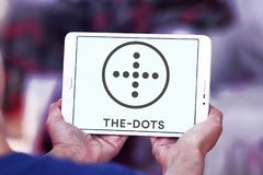 The dots social network logo. Logo of the dots social network on samsung tablet stock photo