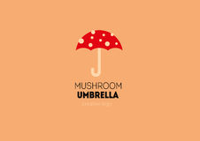Logo with a double meaning, umbrella in the form of a mushroom Royalty Free Stock Photos