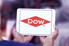 Dow Chemical Company logo. Logo of Dow Chemical Company on samsung tablet . Dow Chemical is an american multinational chemical corporation owned by DuPont and Stock Photo