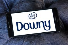 Downy brand logo. Logo of Downy brand on samsung mobile. Downy is a brand name of fabric softener produced by Procter Stock Image