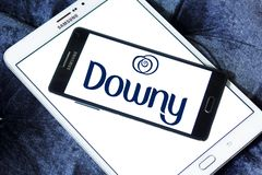 Downy brand logo. Logo of Downy brand on samsung mobile. Downy is a brand name of fabric softener produced by Procter Royalty Free Stock Photo