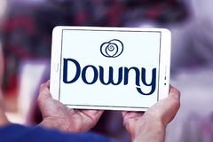 Downy brand logo. Logo of Downy brand on samsung tablet. Downy is a brand name of fabric softener produced by Procter & Gamble and sold in the United States Royalty Free Stock Images