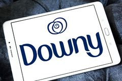 Downy brand logo. Logo of Downy brand on samsung tablet. Downy is a brand name of fabric softener produced by Procter & Gamble and sold in the United States Stock Photography