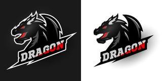Logo Dragon, sporty style. Two options. Royalty Free Stock Photo
