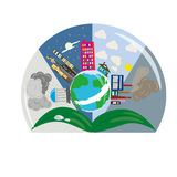 Logo drawing world globe planet building sheets. Drawing world globe planet building worksheets earth weather clouds Stock Photo